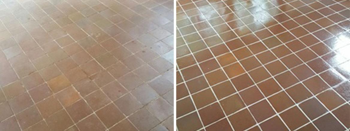 Carpet Covered Terracotta Tiled Floor Before After Restortion