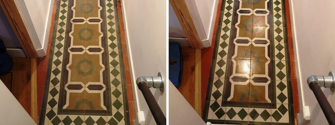 Encaustic Tiled Hallway Before After Cleaning