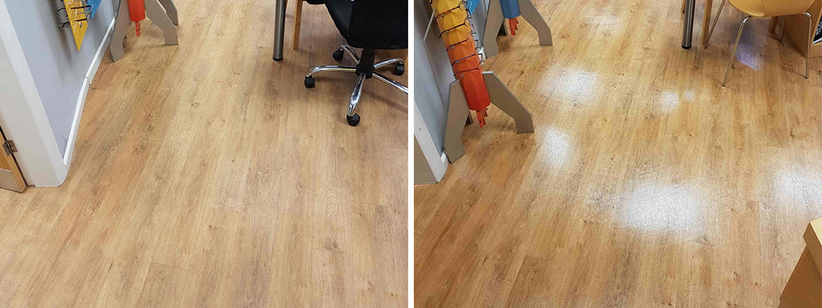 Opticians Vinyl Floor Before After Cleaning
