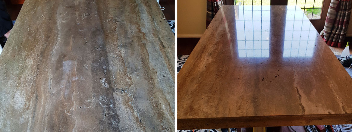 Travertine Tabletop Before After Polishing