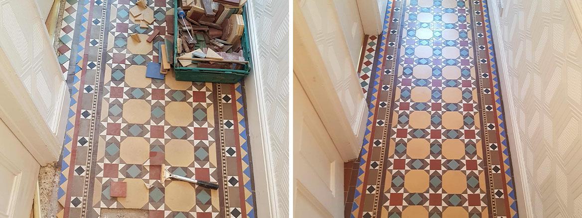 Victorian Hallway Floor Repaired in Rhos-on-Sea