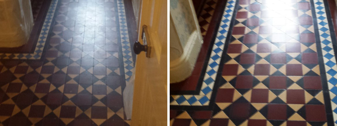 Victorian Tiled Floor Before After Cleaning