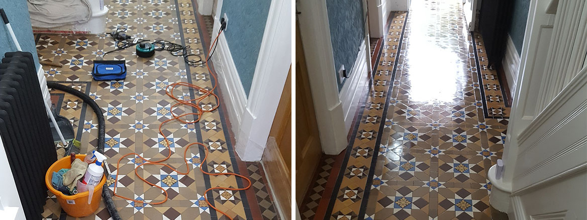 Victorian Tiled Hallway Before After Cleaning