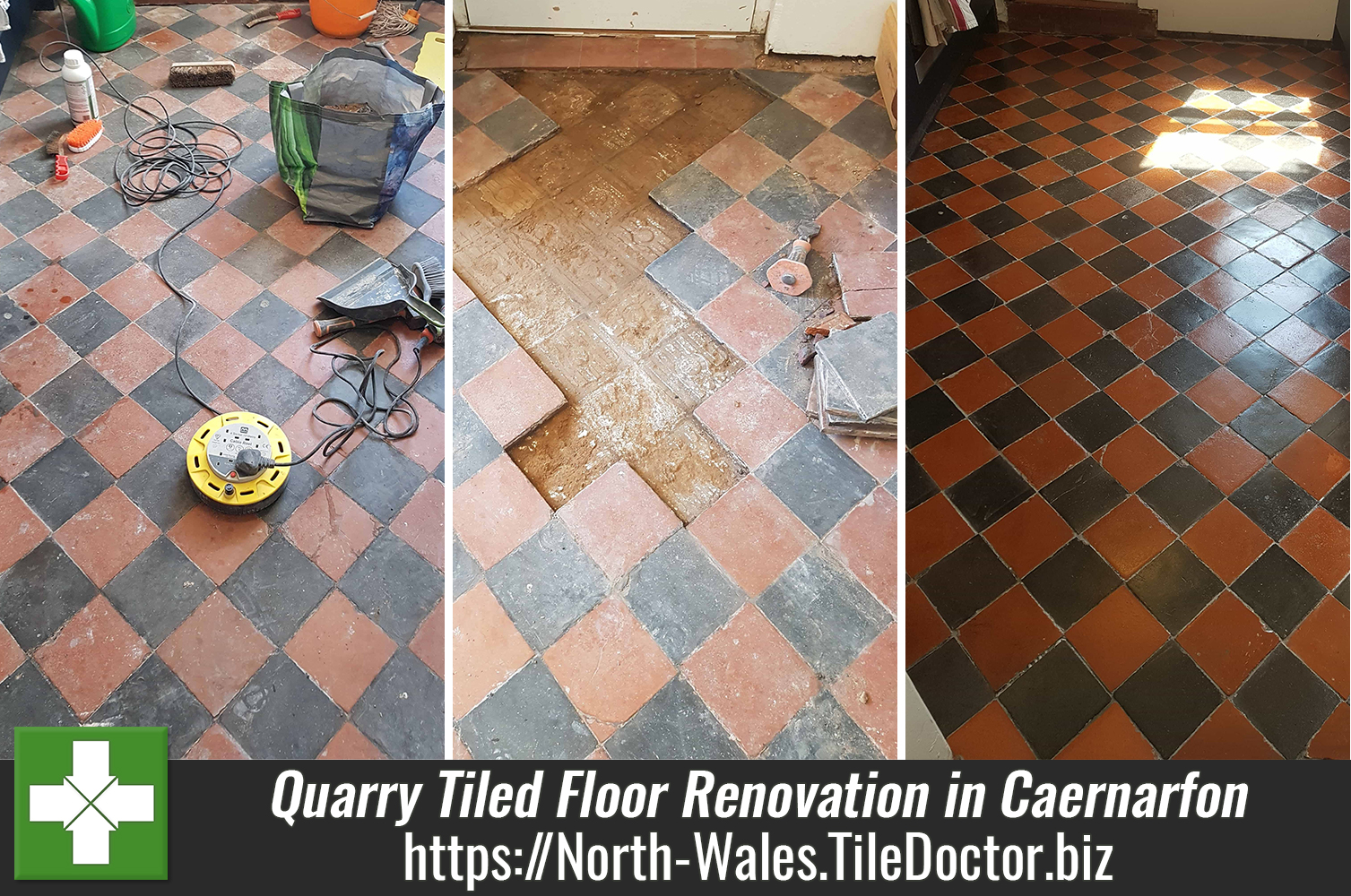 Quarry Tiled Kitchen Floor Tiles Before After Renovation Caernarfon
