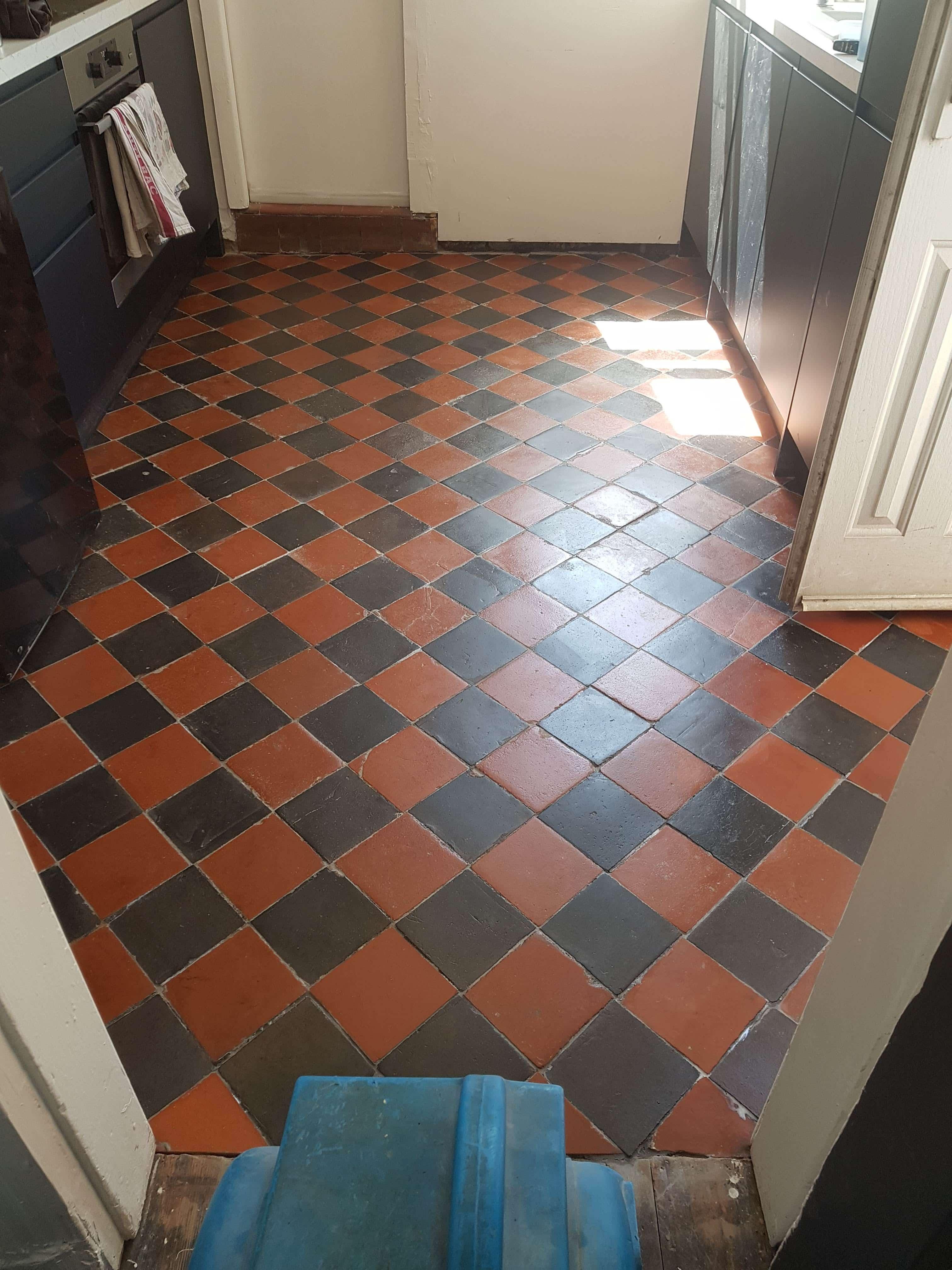 Wax Covered Quarry Tiled Floor After Renovation Caeathro Caernarfon